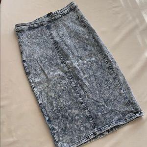 IRIS JEANS stretchy acid wash pencil skirt